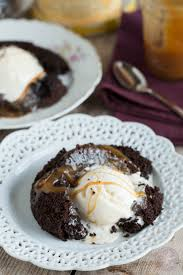 salted caramel molten lava cakes for two table for two