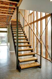 wood stair treads staircase modern with colorful large art