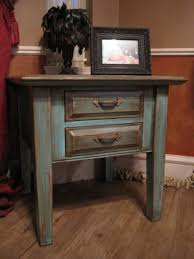 Tables For The Living Room Turquoise End Table With Distressed Gold Highlights Via Refunk My