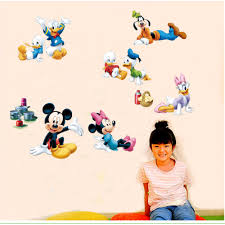 compare prices on minnie mouse mural online shopping buy low 1pc kids cartoon movie anime minnie mouse wall decals mural donald duck friends mickey wall stickers