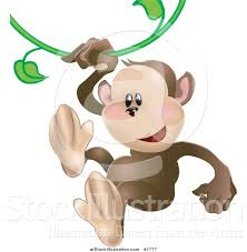 vector illustration of a cute monkey swinging on a green vine by