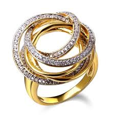 gold fine rings images Women circle shape big rings gold color and white color cubic jpg