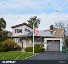 american flag pole suburban ranch style stock photo 244603945