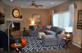 Casual Orange Blue And Gray Family Room Traditional Family - Interior design family room
