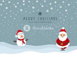 merry celebration with snowman and santa claus