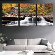art painting for home decoration canvas painting wall art picture 3 piece scenery old house modern