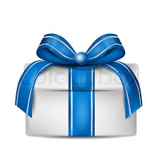 white and blue ribbon white gift box with blue ribbon isolated on white stock vector