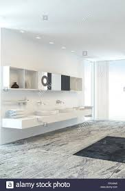 wall mounted double vanity unit in a fresh light bright modern