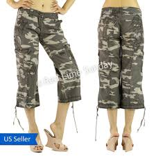 women camouflage army print embroidery capri cargo wide baggy