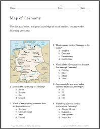 german map worksheet for student handouts social studies
