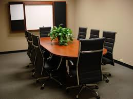 Modern Conference Room Design by Brown Stained Wooden Meeting Table With Stainless Steel Legs