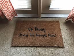 Funny Doormat by Go Away Unless You Brought Wine Doormat Wine Decor Wine