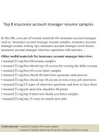 Junior Accounts Manager Resume Top8insuranceaccountmanagerresumesamples 150514023349 Lva1 App6891 Thumbnail 4 Jpg Cb U003d1431570873