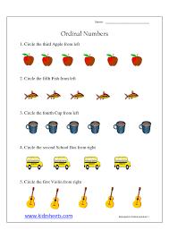 kidz worksheets kindergarten ordinal numbers worksheet1