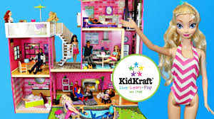 barbie dollhouse kidkraft uptown wooden doll house mansion pool