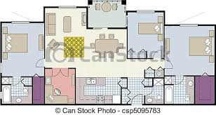 vectors of floor plan of three bedroom condo vector shows the