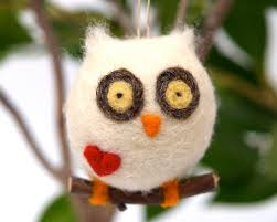 love owl ornament valentines day gift wool needle felt decorations