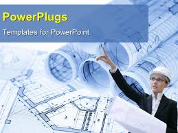 powerpoint template grey building over architectural blueprint