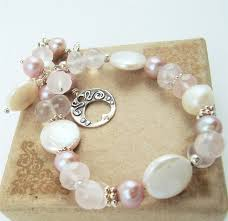 bead pearl bracelet images Blush white coin pearl bracelet rose quartz gemstone pink beaded jpg