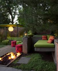 undercover canopy patio midcentury with built in bench concrete