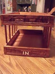 Desk Tray Organizer by Vtg Handcarved Philippines Wooden In Out Desk Tray 2 Tiers Letter