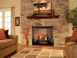 delightful living room design with brick fireplace chimney and