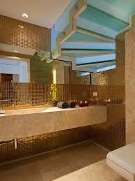 luxury bathroom decorating ideas with stunning small gold mosaic