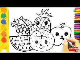 coloring pages fruits and how to draw for kids fun clip for