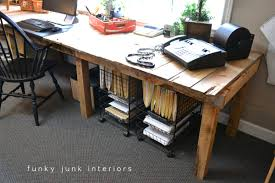 Funky Office Desk Pallet Farm Table Desk Part 3 The Reveal Funky Junk