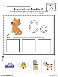 letter c beginning sound picture match worksheet color