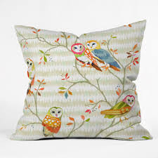 betsy olmsted owl tree 2 throw pillow deny designs home accessories