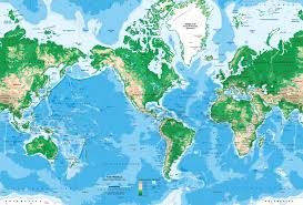 Topography Map World Topography Map Wall Mural Miller Projection