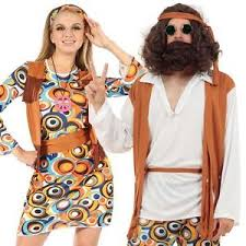 Hippie Halloween Costumes Adults Mens Ladies Couple 60s 70s Groovy Hippy Flower Power Fancy