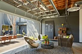 one workplace outdoor office with open garage breakout area