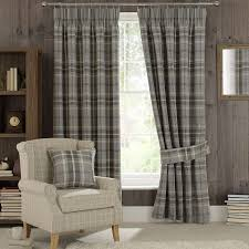 Black And White Buffalo Check Curtains Dove Grey Highland Check Pencil Pleat Curtains Dunelm Home