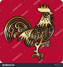 golden rooster ornament rooster flora stock vector