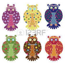 multicolour owl and seamless pattern with lace ornamental