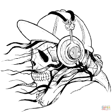 skull in cap and headphones coloring page free printable
