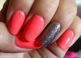 coral and silver shellac nails ℕails ℕails ℕails pinterest