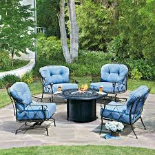 Patio Furniture Sets With Fire Pit by Hanover Aspen Creek Bar Height Fire Pit Dining Set Hayneedle