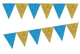 Flag Triangle Caribean Blue Glitter Gold Glliter 10ft Vintage Pennant Banner