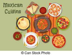 clipart vector of traditional cuisine lunch food