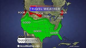 thanksgiving day forecast slippery travel a risk in northeast as