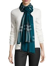 giant check gauze scarf green burberry clothing accessories
