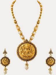 antique necklace pendants images One gram gold antique mala with lakshmi pendant jewellery designs jpeg