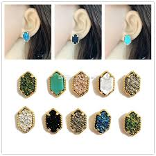 druzy stud earrings trendy oval druzy stud earrings silver gold filled drusy geometry