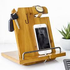 wooden groomsmen gifts personalized wood phone station organizer