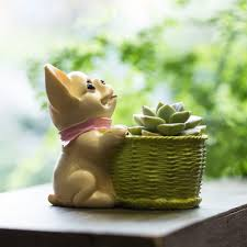 cute small decorative french dog resin cactus succulent flower pot