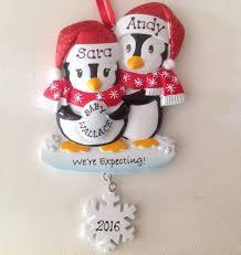 personalized christmas ornament pregnant penguins