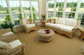 decoration amazing wicker furniture with cushion and sisal carpet